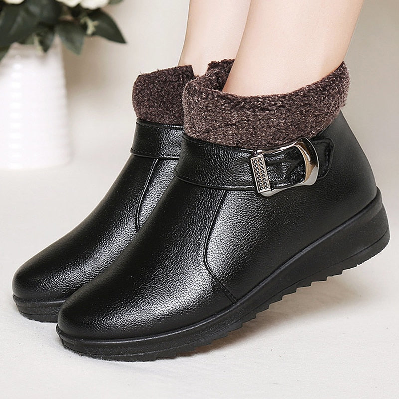 6dc672c47bf56 Women boots 2018 fashion buckle pu leather winter ankle boots women shoes  waterproof plush insole ladies shoes woman snow boots – Beal | Daily Deals  For ...