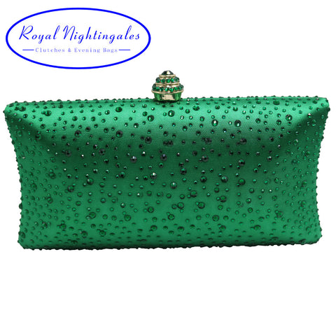 Women's Dark Green Evening Clutch Bags with Sparkle Crystal Diamonds for Ladies Wedding Prom