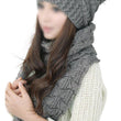 Women's Winter Knitted Scarf and Hat Set Thicken Skullcaps-beige gray black pink white
