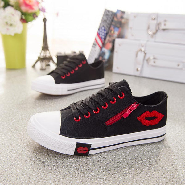 Women sneakers 2018 summer shoes casual white canvas shoes woman flats comfortable trainers zipper