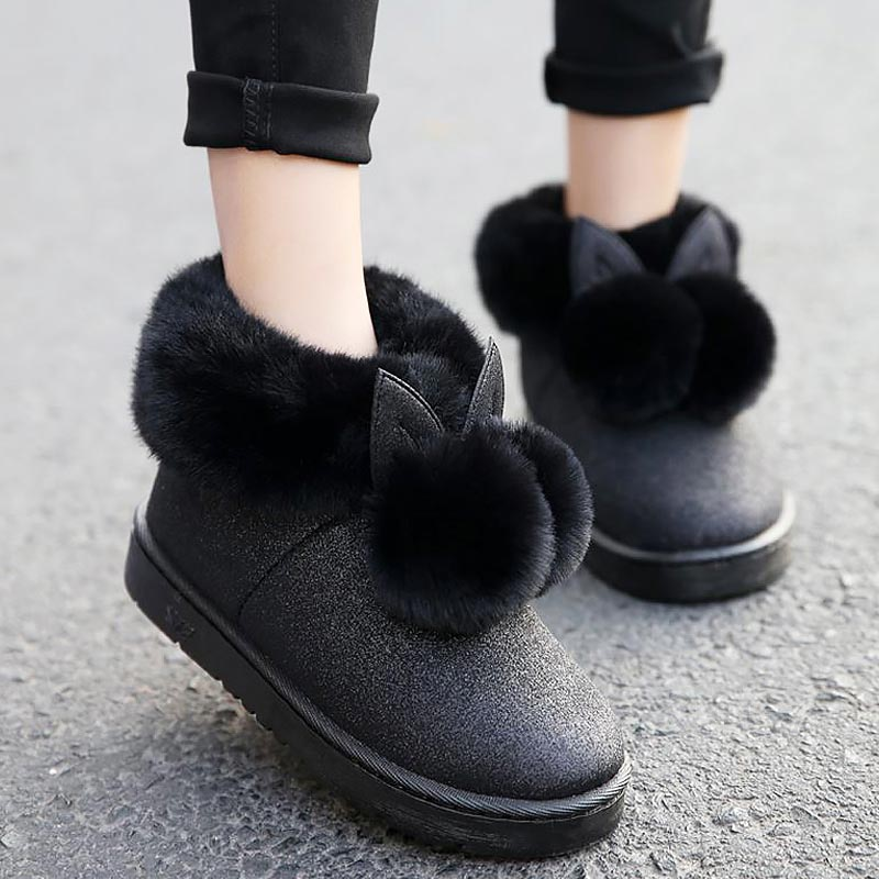 strong packing marketable volume large Women winter boots 2018 lovely rabbit ears soft fur warm snow boots slip on  round toe female boots