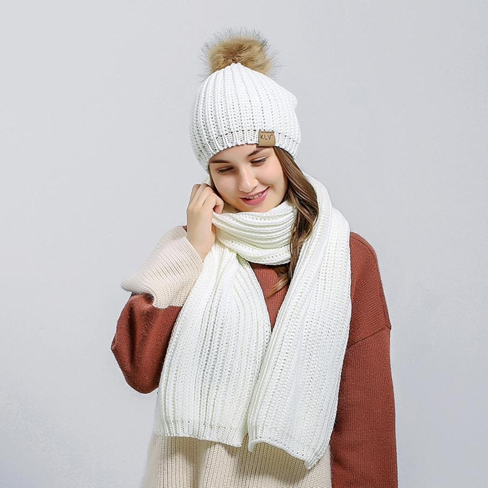 74c6f30c971 Womens Winter Hat and Scarfs Sets Knitted Solid Crochet Beanie Pom Hat –  Beal