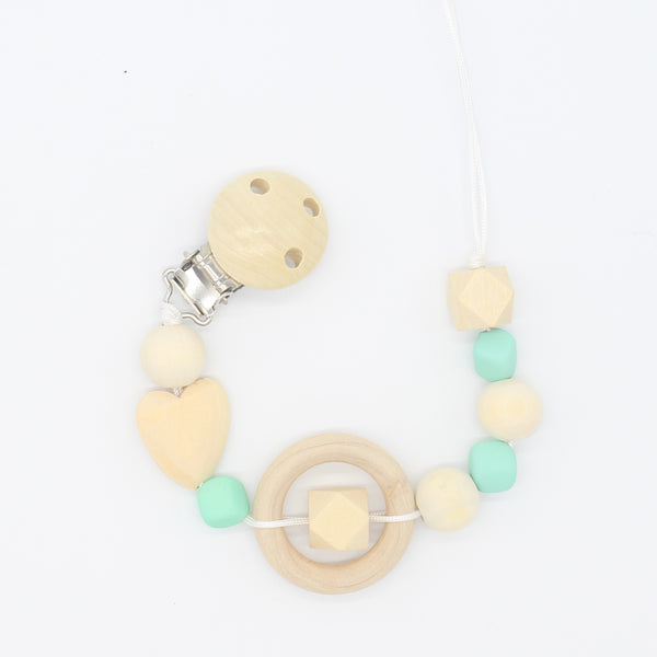 XCQGH Natural Baby Pacifier Clip Soother Clips Dummy Holder Safe Wooden Beads Love Heart Wooden Ring Teether Holder