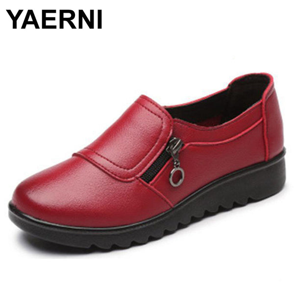 YAERNI Autumn Women's Shoes Fashion Casual Women Leather Shoes Ladies Slip On Comfortable Plus