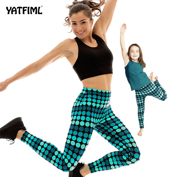 YATFIML mummy and me elasticity fitness Yoga trousers Outdoor professional Running pants gym kids legging pants