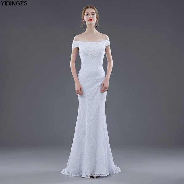YIDINGZS Hot Sale Sexy Lace Wedding Dresses Elegant Mermaid Off Shoulder Appliques Beaded White