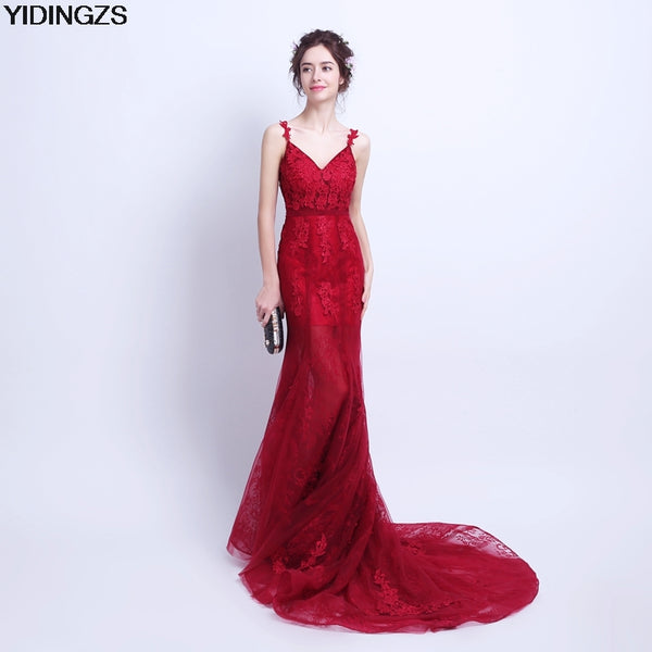YIDINGZS Robe De Soiree Mermaid Wine Red Evening Dress Straps Party Elegant Vestido De Festa Long