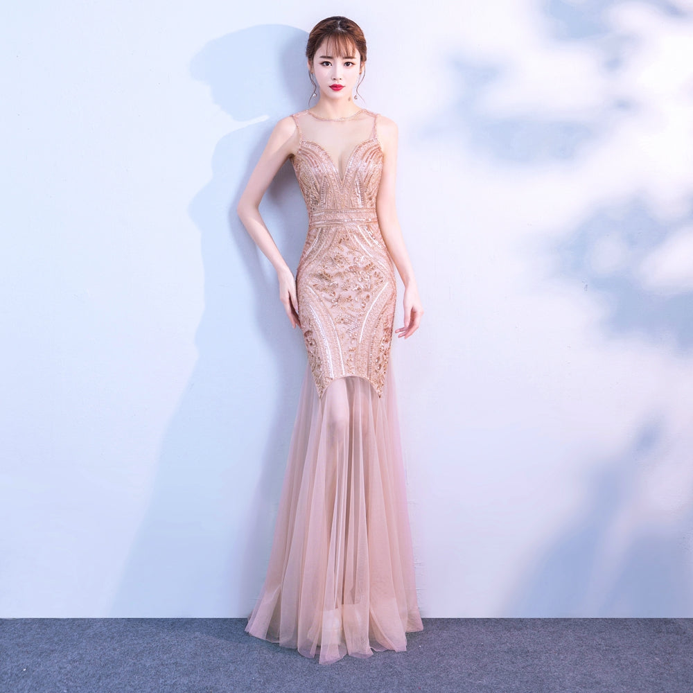 40f910b585 YIDINGZS Sequins Beading Evening Dresses Mermaid Long Formal Prom ...