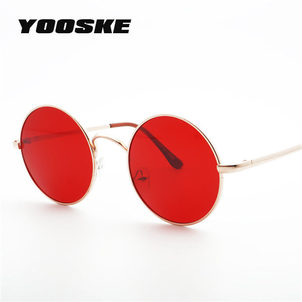 YOOSKE 2018 Metal Round Sunglasses Men Women Personality Black Big Red Sun Glasses Mirror Shades Sunglass for Womens Mens UV400