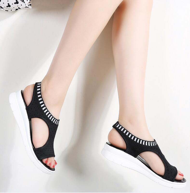 YZHYXS women sandals for 2018 summer new platform sandal shoes breathable  comfort shopping ladies walking shoes white black – Beal  b8abfde6242