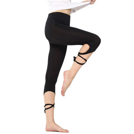 Yoga Tights Leggings Pants Ballet Spirit Bandage Cross-line Quick Dry Elastic Waist Sportswear For