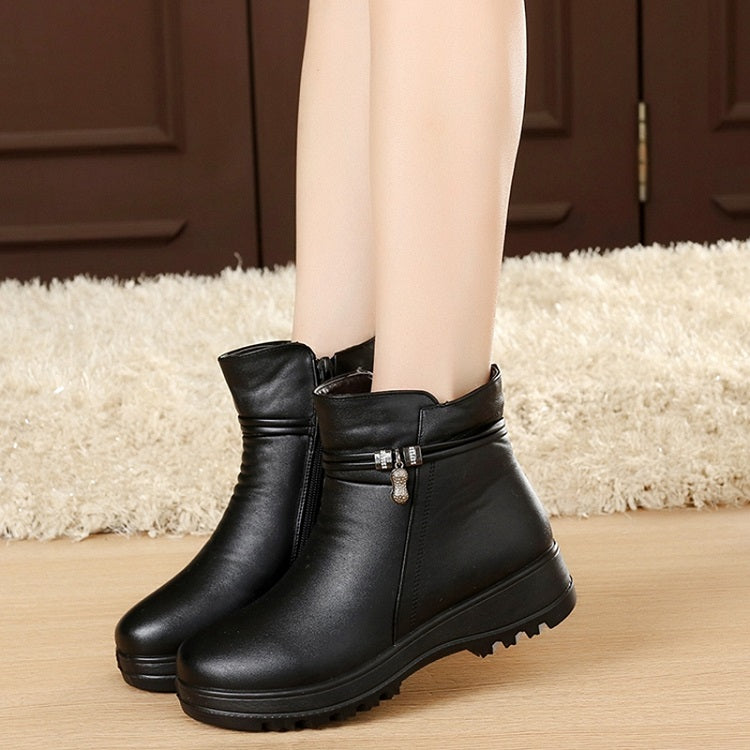 Women Boots Winter 2017 Zipper Ankle Booties Black Fashion