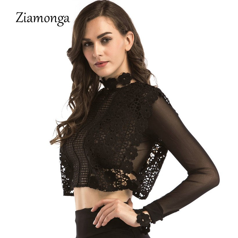 50b12ca0427 Ziamonga 2019 Lace Black Hollow Out Vintage Women Tops White Lace ...
