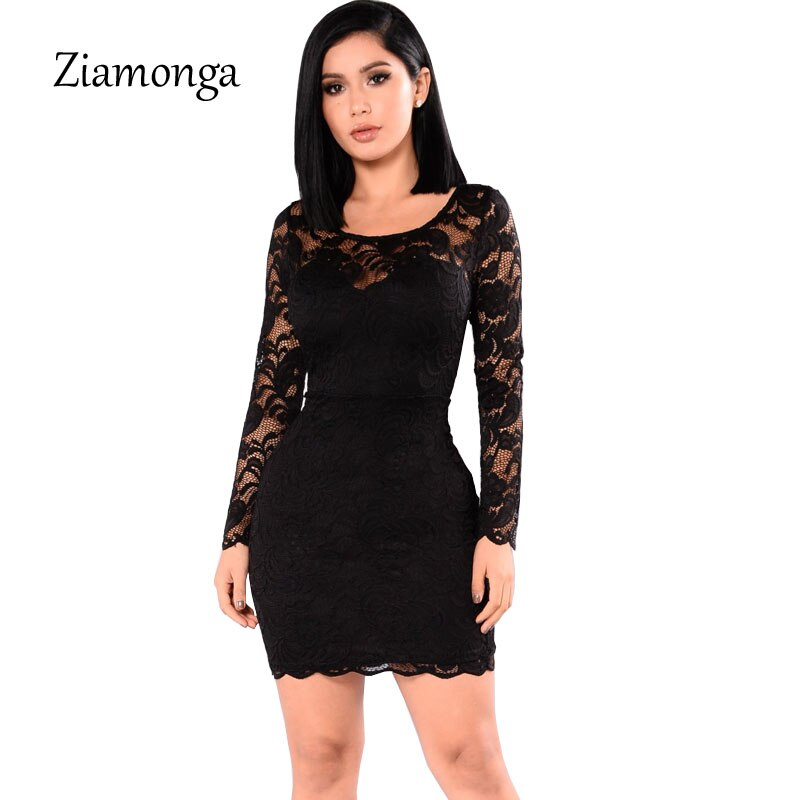 d35eec4f67225 Ziamonga 2019 Spring Autumn Women Dress Office Sexy Long Sleeve Bandage  Dress Elegant Pencil Lace