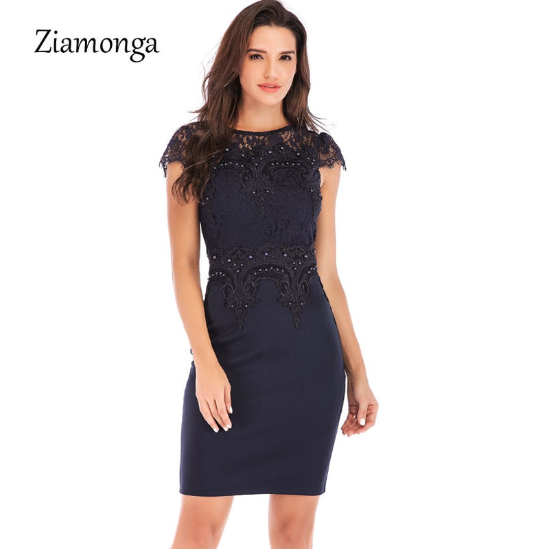 Ziamonga Office Lady Vintage Lace Dress Women 2018 Retro Tunic Slim Work Business Casual Dress Sexy