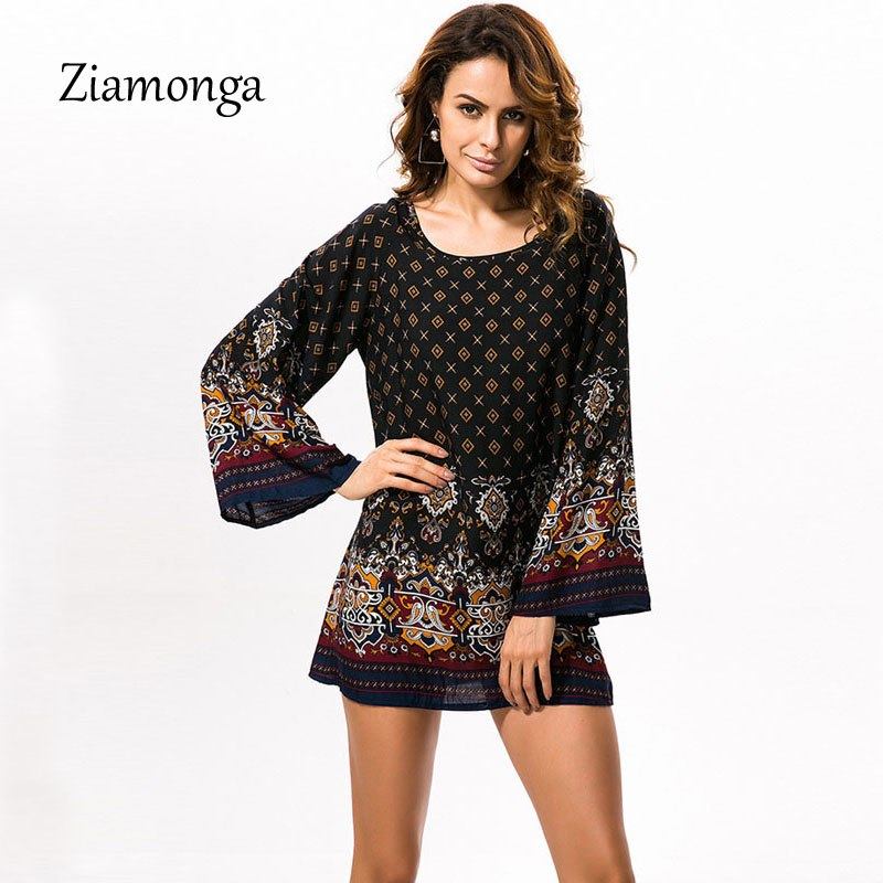28a7bb1265bae Ziamonga Vintage Women Printed Dress Fashion Scoop Neck Casual Party ...