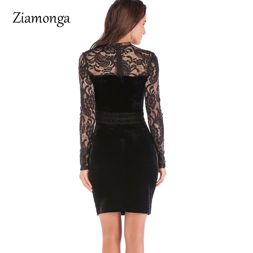 3d04f31be2109 Ziamonga Women Embroidery Lace Party Dresses Long Sleeve Knee Length ...
