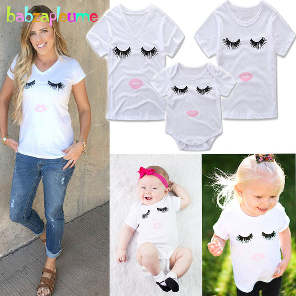 babzapleume summer style mom and daughter matching clothes fashion cotton t shirt baby rompers family clothing outfits BC1427