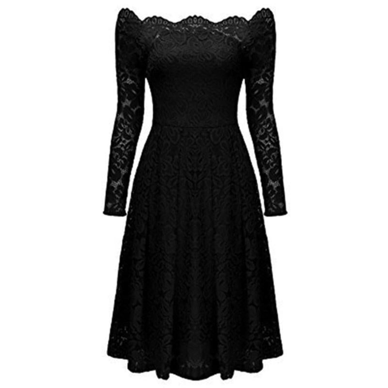 1a8bab0ec93 High Quality Women s Vintage Floral Lace Long Sleeve Boat Neck Cocktai –  Beal
