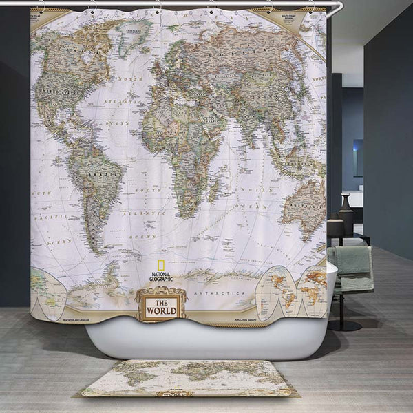 decorUhome Polyester Waterproof Vintage World Map Elephant Shower Curtain Bathroom Curtains 12