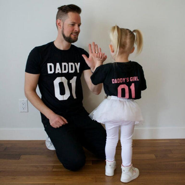 family matching clothes family look father Daughter matching clothes 01 Daddy and Daddy's Girl Short Sleeve T-shirt in Black top
