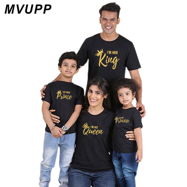 family matching clothes outfits king queen prince princess tshirt for father mother and me daughter son top family look clothing
