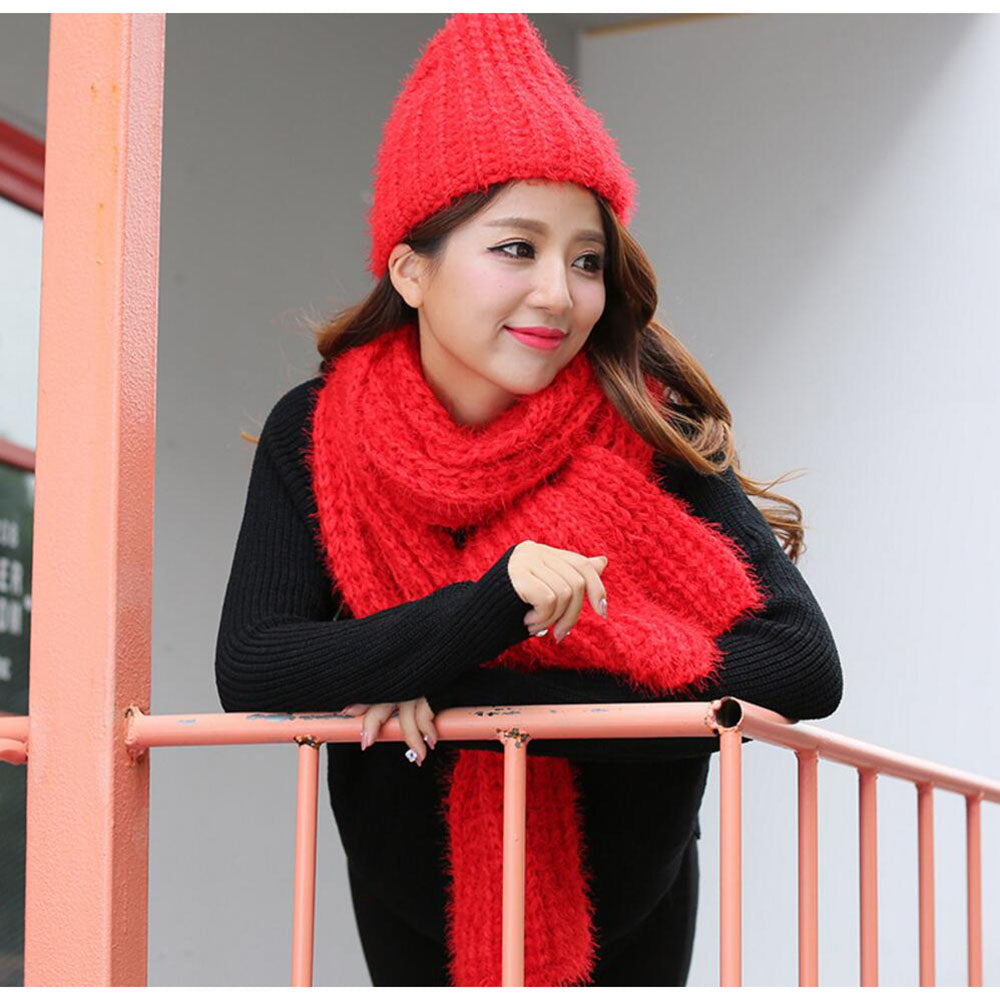 knitted scarfs hat sets designer winter plain scarves caps womens round  scarf new fashion scarf hat knit set mujer thick 0c30c8d4711