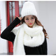 knitted scarfs hat sets designer winter plain scarves caps womens round scarf new fashion scarf hat knit set mujer thick