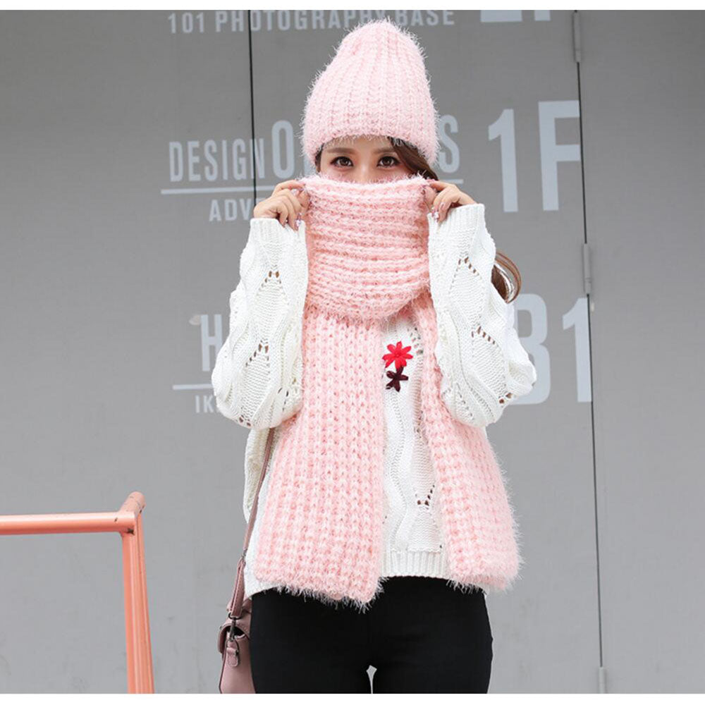 63befab2 knitted scarfs hat sets designer winter plain scarves caps womens roun –  Beal | Daily Deals For Moms