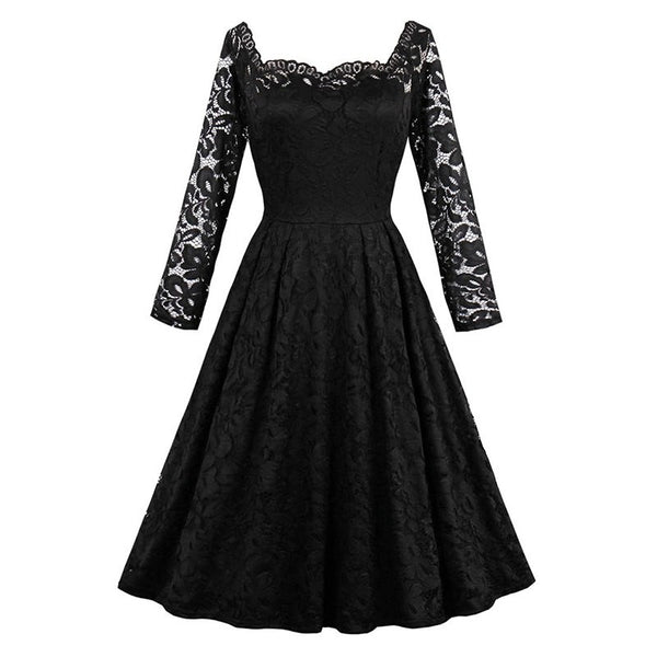lace vintage dress autumn full sleeve a line women dress elegant patchwork sexy knee
