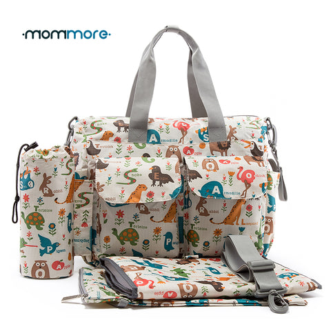 mommore 5pcs Baby Nappy Bags With Changing Pad Mummy Diaper Bag Maternity Shoulder Bag Handbag