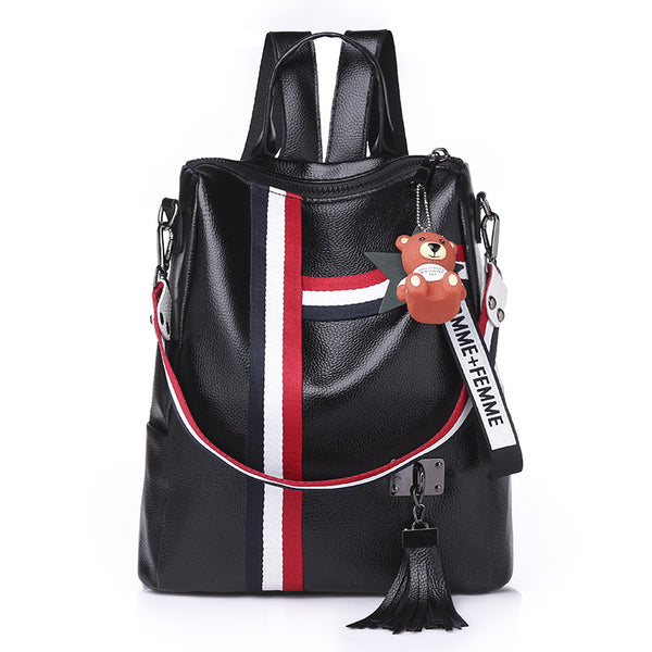 new retro fashion zipper ladies backpack 2018 hot leather high quality school bag shoulder bag for
