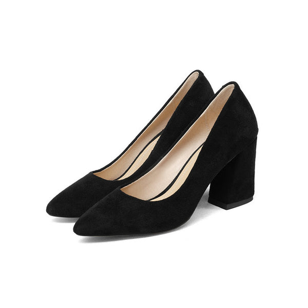 ESVEVA 2018 Women Pumps Sweet Style Square High Heel Flock Pointed Toe Spring and Autumn Elegant Shallow Ladies Shoes Size 34-43