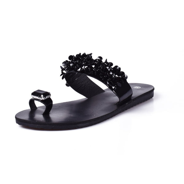 Women Sandals Flip Flops 2018 New Summer Fashion Rhinestone Wedges Shoes Woman Slides Crystal Beautiful Lady Casual Shoes Female