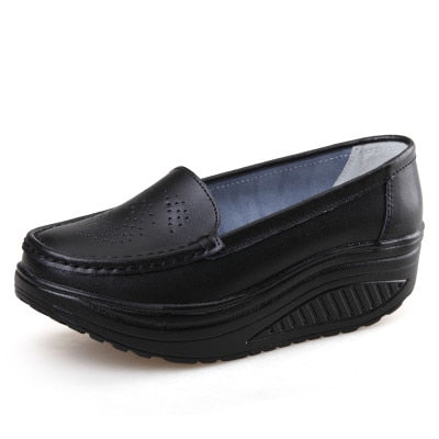 ZHENZHOU spring genuine leather soft outsole work shoes female black swing shoes woman plus size  wedges single female shoes