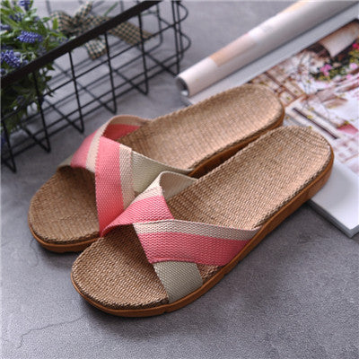 Suihyung Summer Women Breathable Linen Slippers 2018 New Woman Flats Casual Flip Flops Sandals Indoor Shoes Cane Home Slippeers