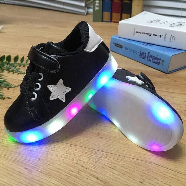 shoes kids glowing sneakers PU Flat bottom Breathable light up shoes led shoes EU 21-29 boys