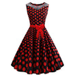 summer women dress 1950s vintage sleeveless polka dots bowknot patchwork zipper o neck
