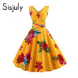summer women dress girls print black yellow sleeveless elegant vintage formal chic short