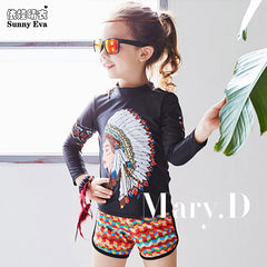 7be7d03ec0 sunny eva girls swimsuit two piece swim suit kids Indian head print long  sleeve swimwear with