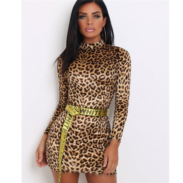 turtleneck Mini Dress Women Leopard Print Sexy dresses Long Sleeves Bodycon Casual Party Evening