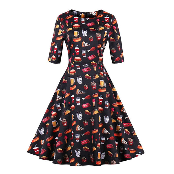 vintage autumn dresses women cute floral food print 1950s style a line mid-calf party