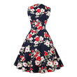 vintage dress 1950s sleeveless floral color block patchwork print mid-calf elegant female