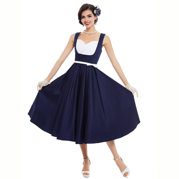 vintage dress 1950s style spring dark blue patchwork pin up party ...