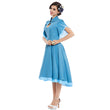 vintage dress 1950s style summer blue pin up short sleeve lapel women party dress summer