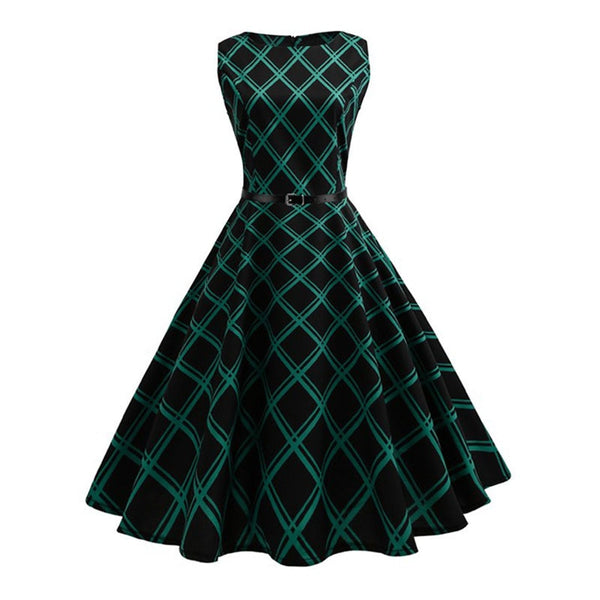 vintage dress 50s summer plaid classic sashes party elegant dress retro women green o