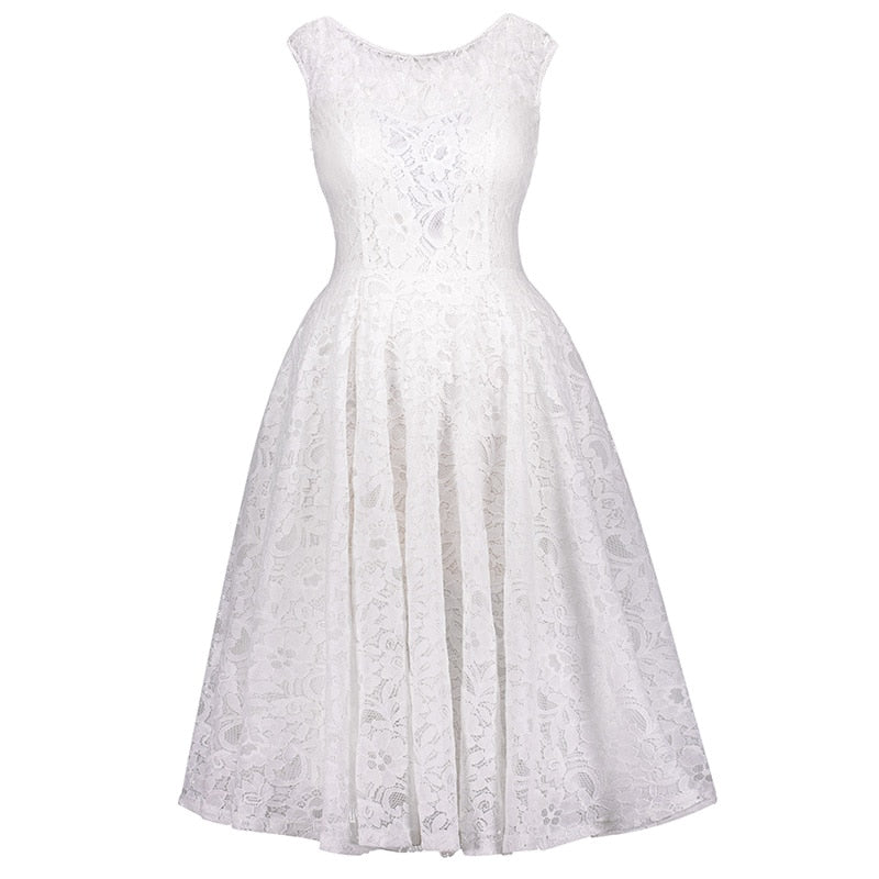 d7947fbc1cbc9 vintage dress a line white lace party elegant spring dresses club o neck  tank dress 1950s