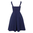 vintage dress autumn winter Blue 1950s A-Line retro elegant party button dresses pleated