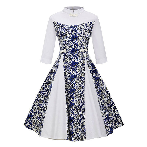 vintage dress women 1950s a line print Chinese clothing party dress color block white