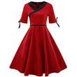 vintage dress women summer a-line v neck solid zipper lace bow tie mid calf 2018 elegant
